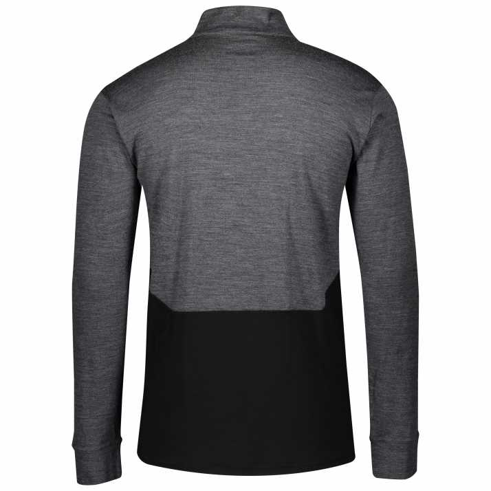 термомайка з застібкою SCOTT ZIP DEFINED MERINO dark grey melange/black