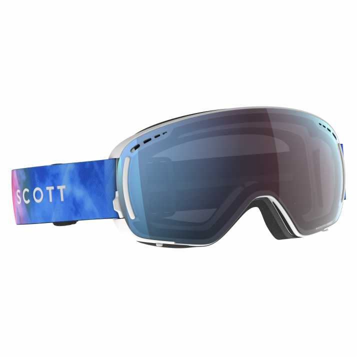 маска горнолыжная SCOTT LCG COMPACT LS cyan blue/pink enhancer blue chrome